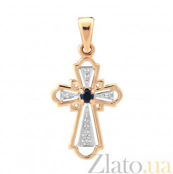 Золотой крестик Гармония в комбинированном цвете с сапфиром и бриллиантами VLA--33141