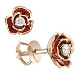 Пуссеты из красного золота с бриллиантами Весенняя роза