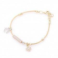 Золотой браслет Клевер и подкова в комбинированном цвете с фианитами