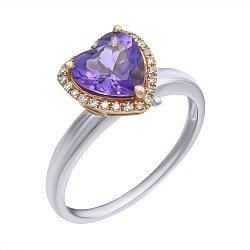 Золотое кольцо в комбинированном цвете с аметистом и бриллиантами 000139368