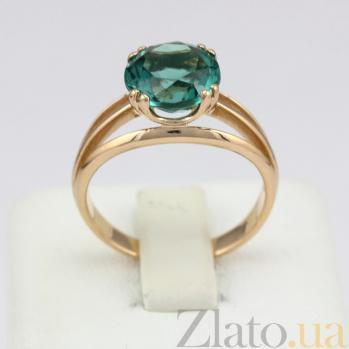 Золотое кольцо Лия с синтезированным зеленым аметистом 000030780