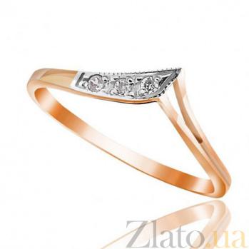 Золотое кольцо  с круглыми фианитами Мальвина EDM--КД0185