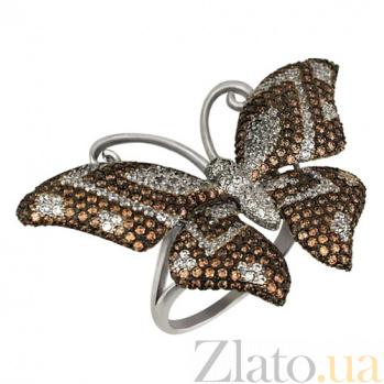 Кольцо из белого золота Бабочка с фианитами VLT--ТТ1026