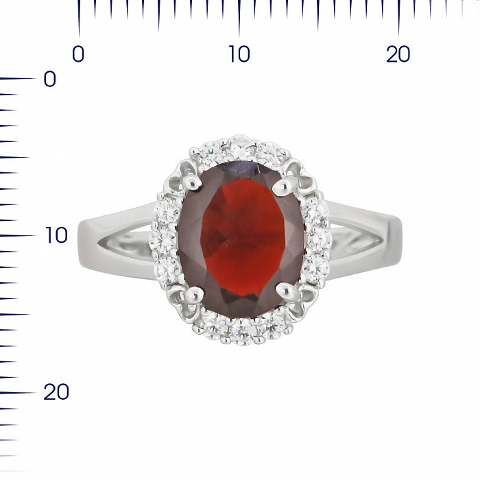 Серебряное кольцо Оливия с гранатом и фианитами 000081635