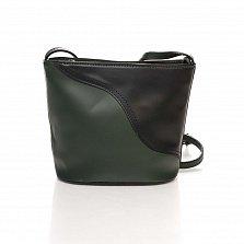 Кожаный клатч Genuine Leather 1802 черного и зеленого цвета с плечевым ремнем