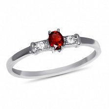 Золотое кольцо Секреты султана в белом цвете с рубином и фианитами