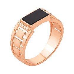 Перстень-печатка из красного золота с черным ониксом и фианитами 000117629