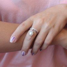 Серебряное кольцо с подвеской Лавиния с белым жемчугом и фианитами