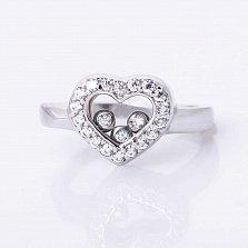 Кольцо из белого золота Тайны сердца с фианитами