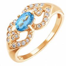 Золотое кольцо Инга с топазом и фианитами