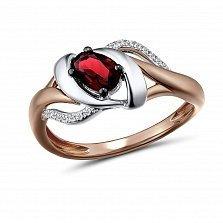 Кольцо из красного золота Иванна с бриллиантами и гранатом