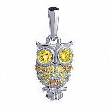 Золотой кулон с жёлтыми бриллиантами Сова