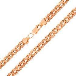 Золотая цепочка в красном цвете плетения королевский бисмарк  000119190