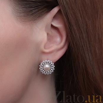 Серебряные серьги с фианитами и жемчугом Дарлайн PTL--7с410/35