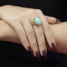 Золотой перстень Амансио в желтом цвете с хризопразом и бриллиантами