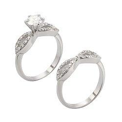 Серебряное двойное кольцо с фианитами 000127107