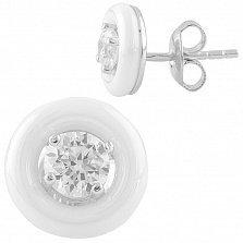 Серебряные серьги-пуссеты Шарлин с белой керамикой и цирконием