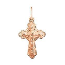 Крестик Вера и любовь в красном золоте