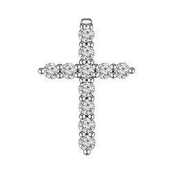 Крестик из белого золота с бриллиантами 0.36ct 000145333