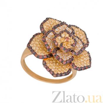 Золотое кольцо Королева цветов в желтом и черном цвете с фианитами микс VLT--ТТ1011-1