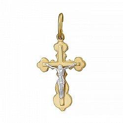 Крестик из серебра Силы небесные с позолотой 000025215