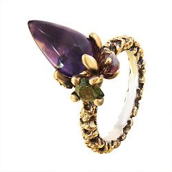 Серебряное позолоченное кольцо Клематис с аметистом и турмалинами