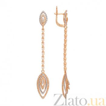 Удлиненные серьги Карина из красного золота VLT--ТТТ2333-2