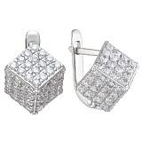 Серебряные серьги Кубики с фианитами
