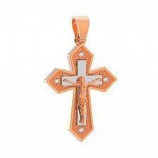 Золотой крестик Чудо веры с фианитами