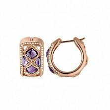 Серьги из розового золота с 8 аметистами и бриллиантами Imperiale