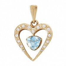 Золотой кулон Романс с голубым топазом и фианитами