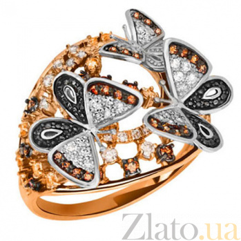 Кольцо из желтого и белого золота с цирконием Бриджид VLT--ТТ1140-3