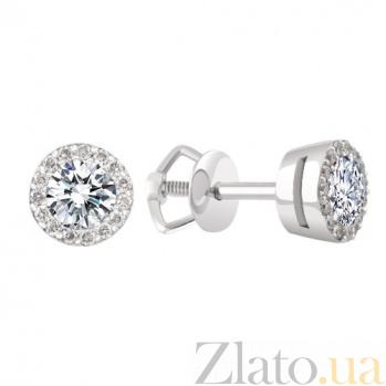 Золотые пуссеты Звезда в белом цвете с бриллиантами KBL--С2421/бел/брил