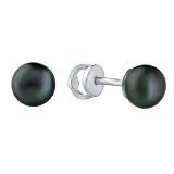 Серебряные серьги с черным жемчугом