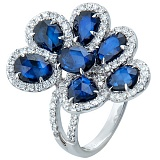 Золотое кольцо Павлина с сапфирами и бриллиантами