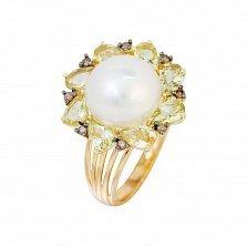 Кольцо из красного золота Джустина с коньячными бриллиантами, белым жемчугом и кварцем цвета шампань
