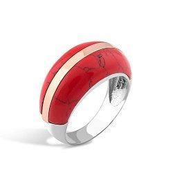 Серебряное кольцо Эрика с золотой накладкой и имитацией яшмы