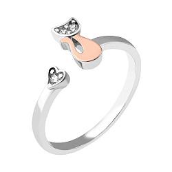 Серебряное кольцо с золотой накладкой и фианитами 000067334