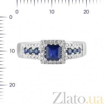 Кольцо из белого золота Водопад любви с сапфирами и бриллиантами 000080951