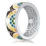 Мужское обручальное кольцо из белого золота Талисман: Счастья