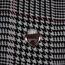 Серебряная брошка Совушка с золотой накладкой, улекситом и фианитами