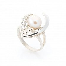 Серебряное кольцо Джемма с жемчугом и фианитами