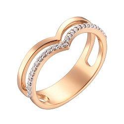 Кольцо в красном золоте с фианитами 000040727
