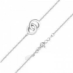 Серебряный браслет с подвеской-обручальными кольцами в якорном плетении 000131575
