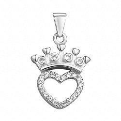 Серебряный кулон с короной и фианитами 000106981