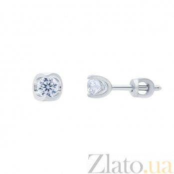 Серебряные серьги гвоздики с цирконом Лика AQA--2319
