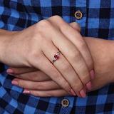 Серебряное кольцо Нюша с рубином и фианитами