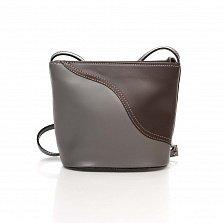 Кожаный клатч Genuine Leather 1802 коричневого и серого цвета с плечевым ремнем