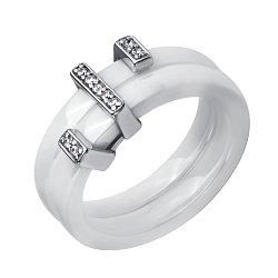 Двойное наборное кольцо Стилиссимо из белой керамики с серебряной накладкой и фианитами