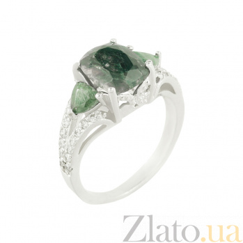 Серебряное кольцо с изумрудами и фианитами Милада 3К934-0066